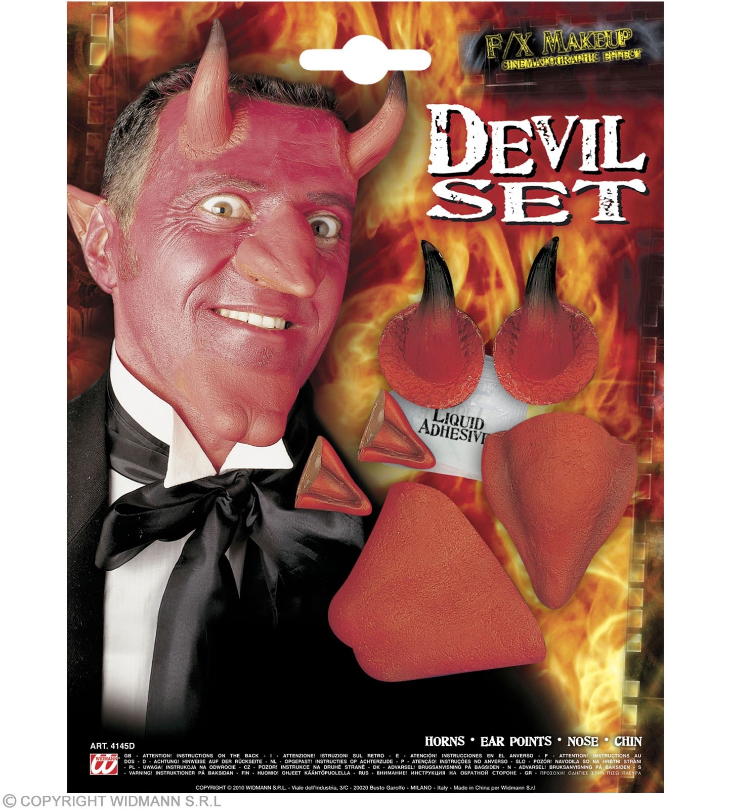 Devil Set Professional Nose Chin Horns Ears Fancy Dress (Halloween)