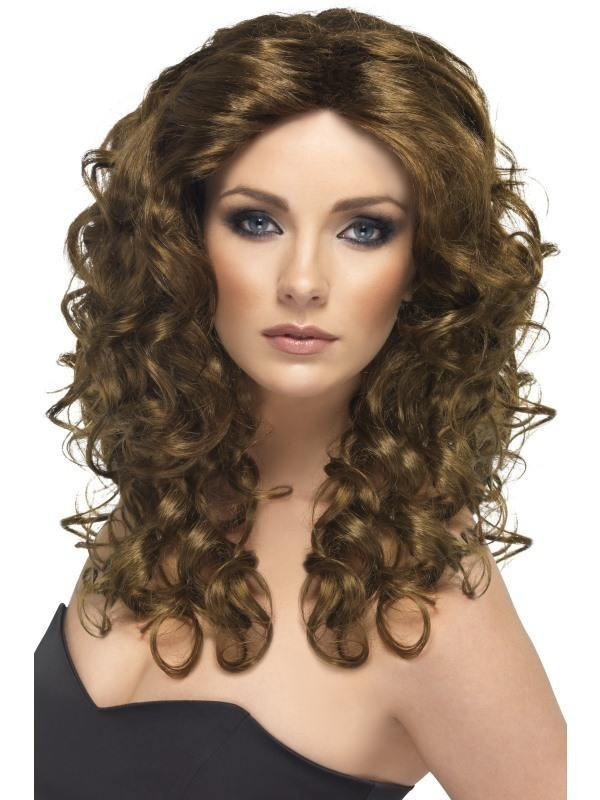 Glamour Wig - Fancy Dress Ladies - Brown
