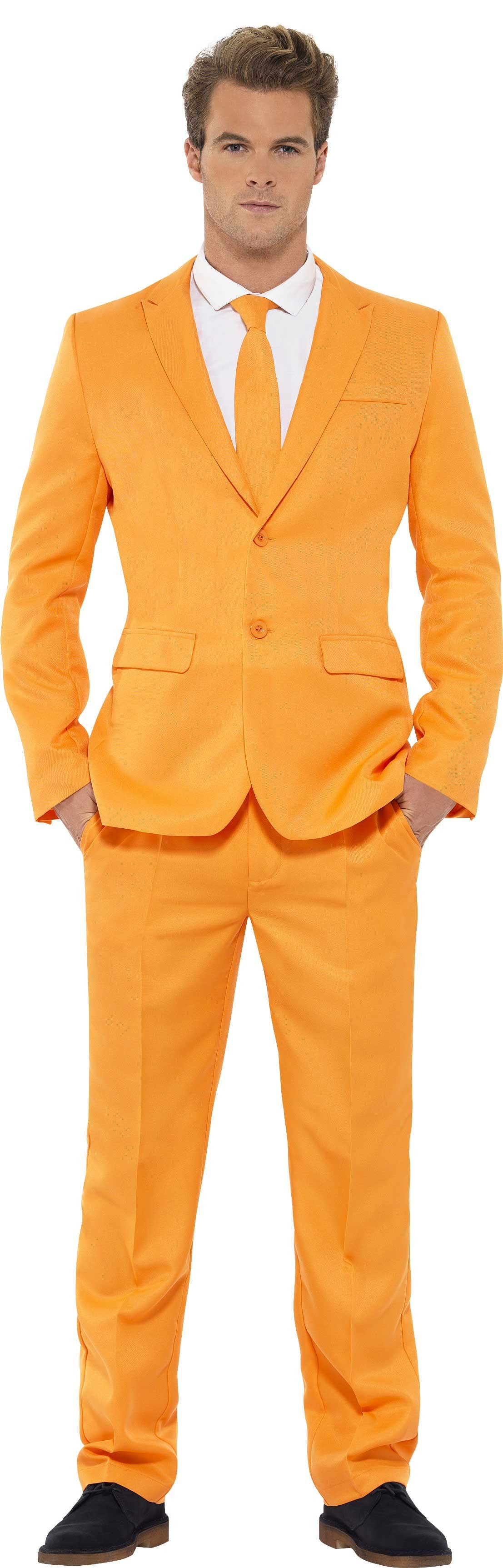 Men'S Orange Stand Out Suit Fancy Dress Costume