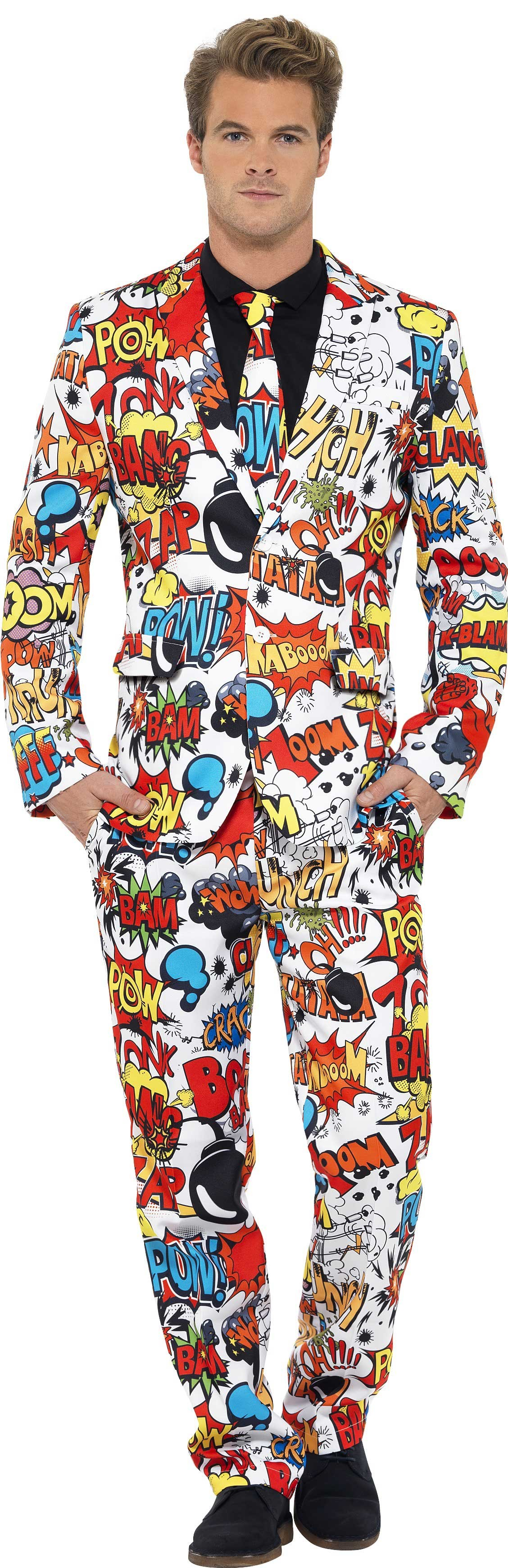 Men'S Comic Strip Action Panel Stand Out Suit Fancy Dress Costume