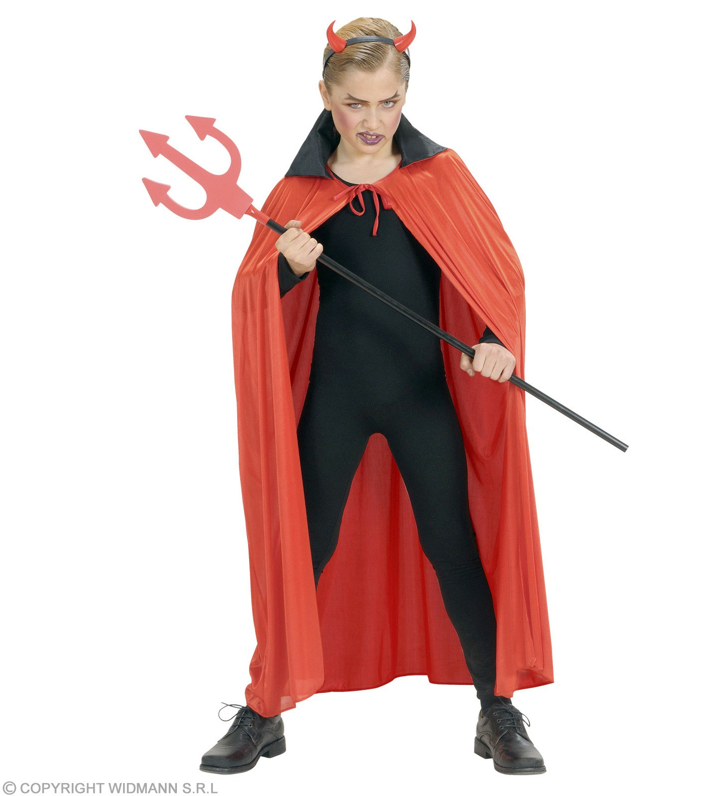 Red Cape W/Black Collar Child 110Cm - Fancy Dress Girls (Halloween)