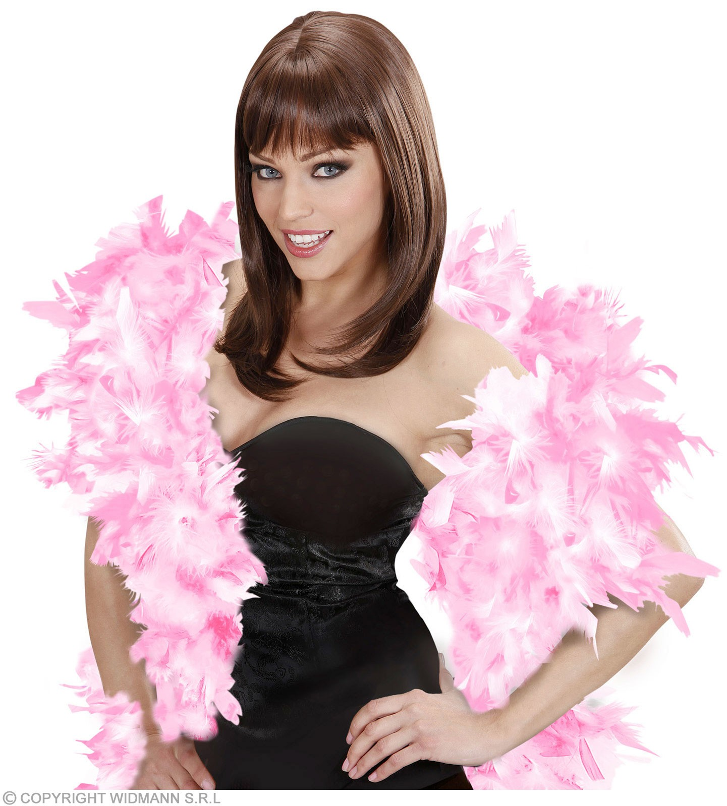 Feather Boa Pink/White Deluxe 180Cm - Fancy Dress
