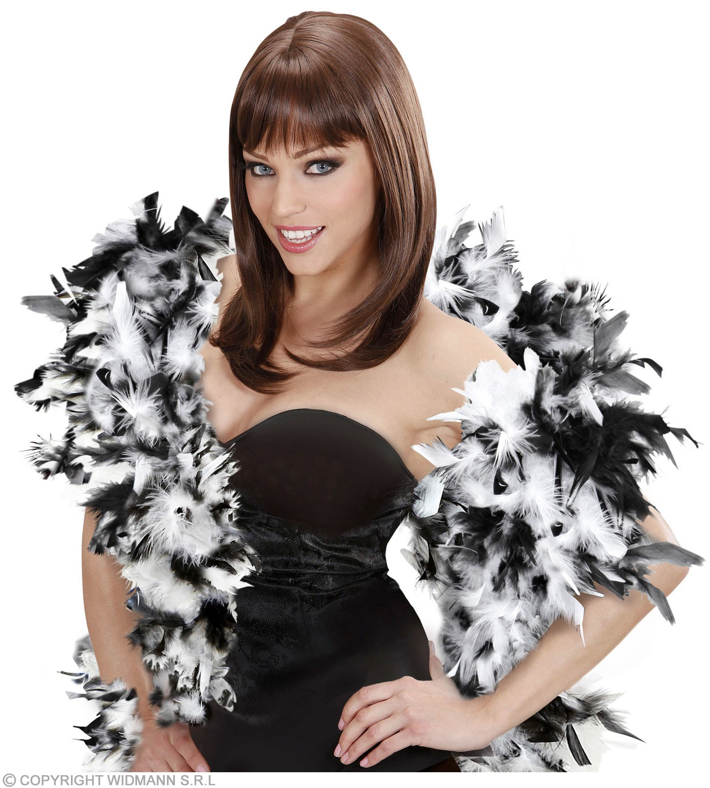 Feather Boa Blk/White Deluxe 180Cm - Fancy Dress