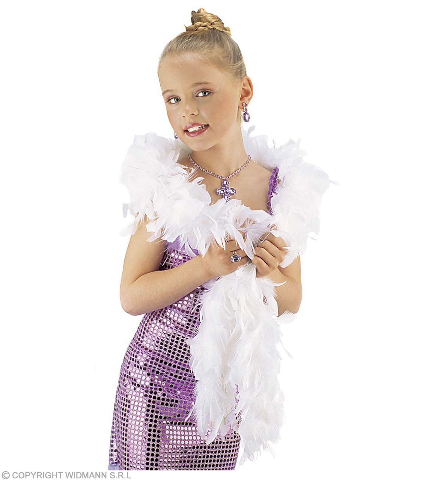 Shimmer Feather Boa White - Fancy Dress