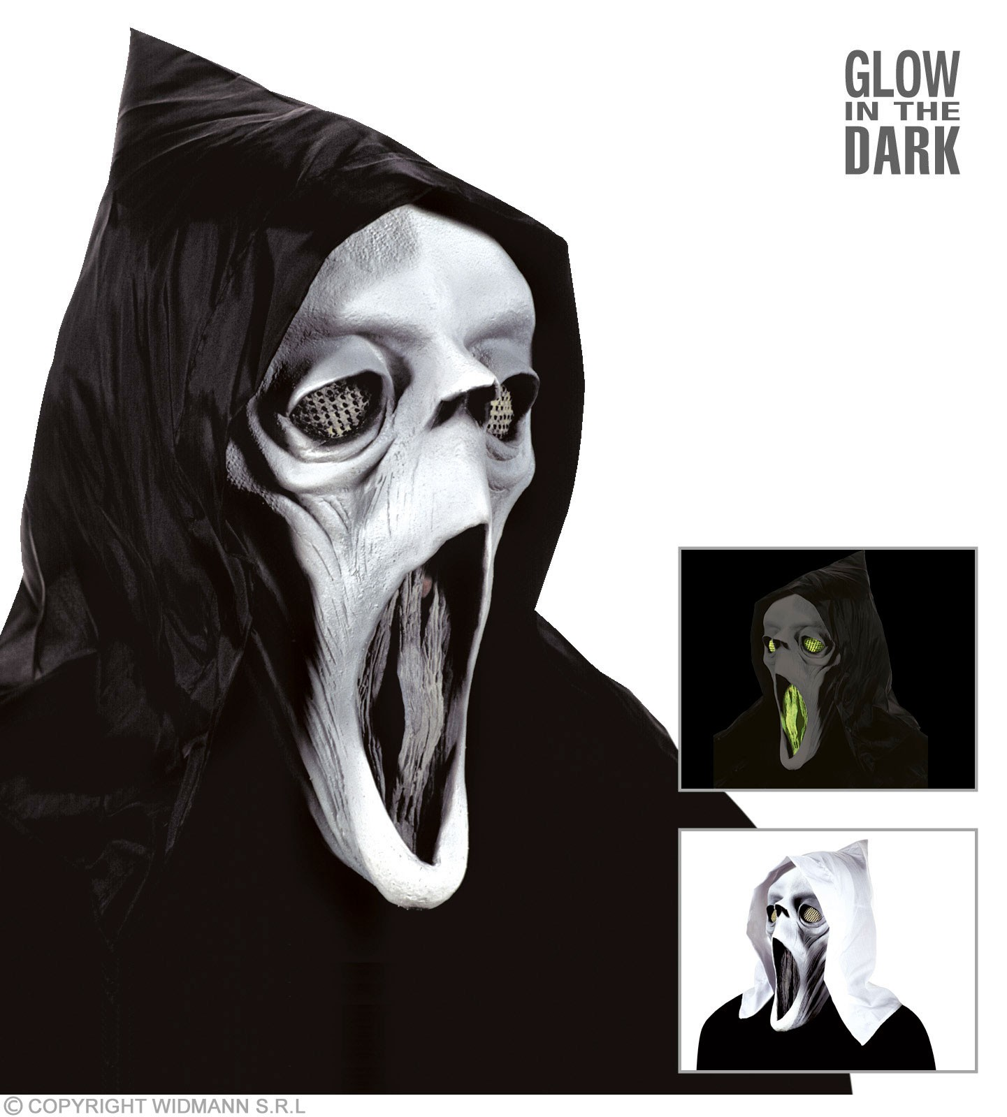 Hooded Ghost Masks Gid Eyes Mouth - Fancy Dress (Halloween)