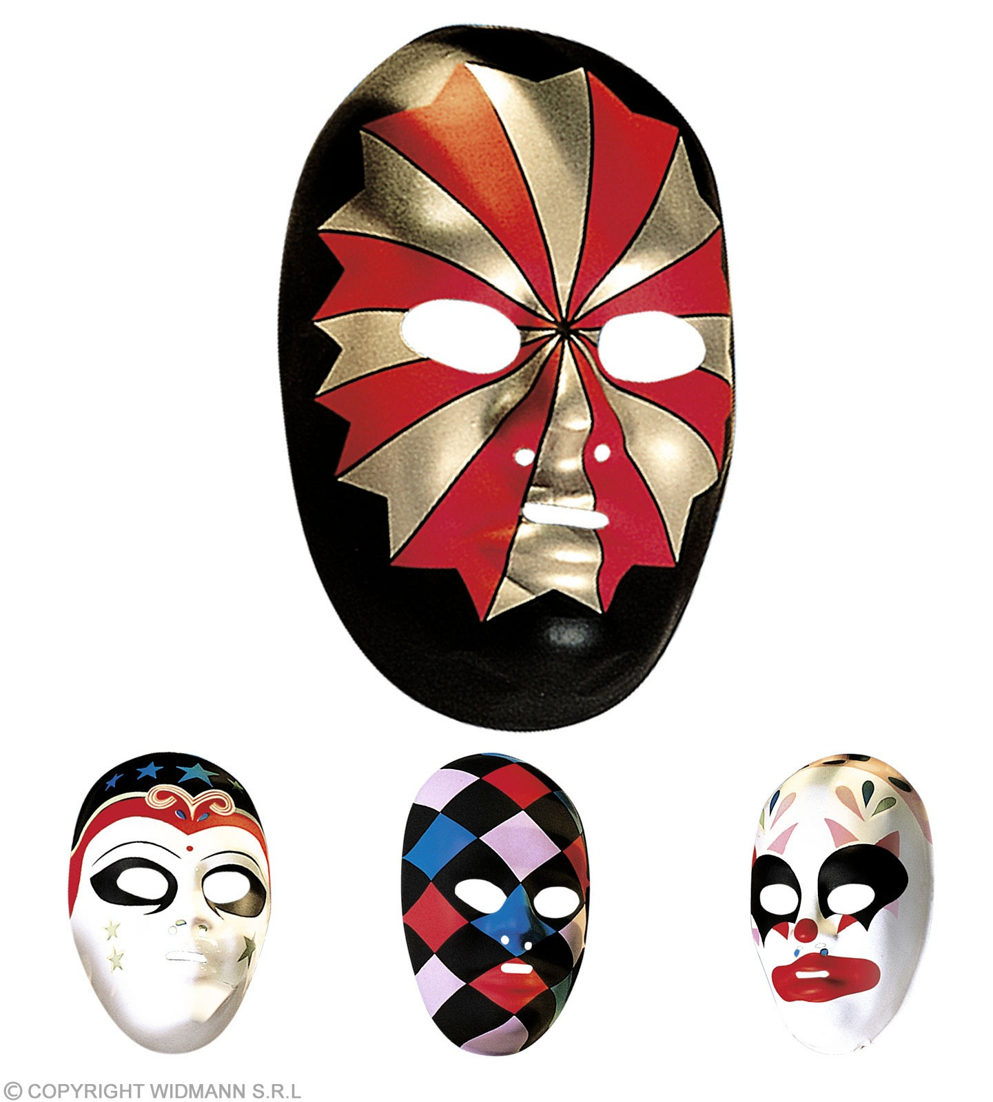 Plastic Decorated Masks 4 Styles Asstd - Fancy Dress