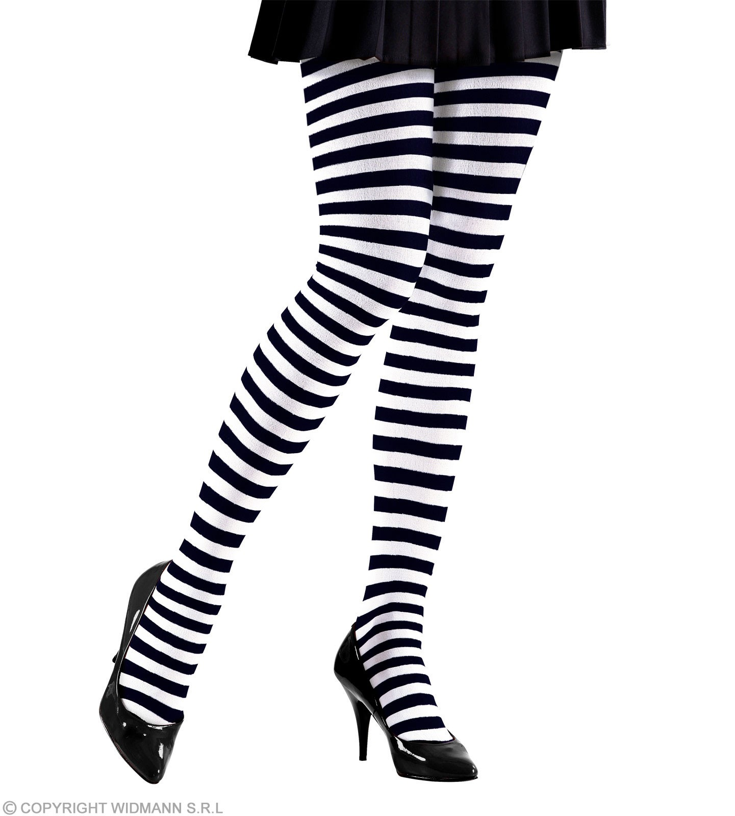 Striped Pantyhose Blk/Wht Neon - Fancy Dress