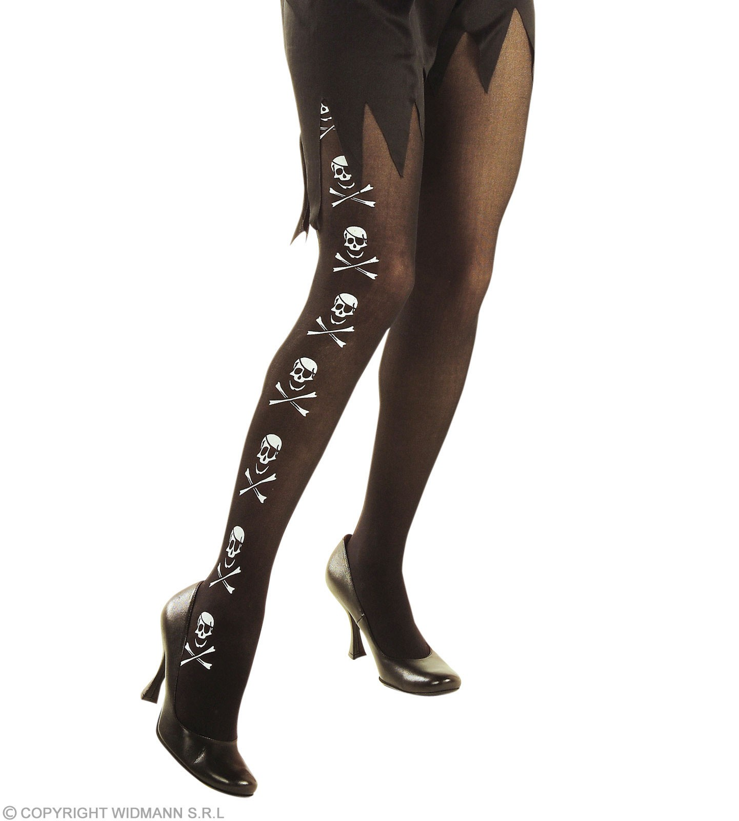 Black Pantyhose W/Skulls And Bones - Fancy Dress