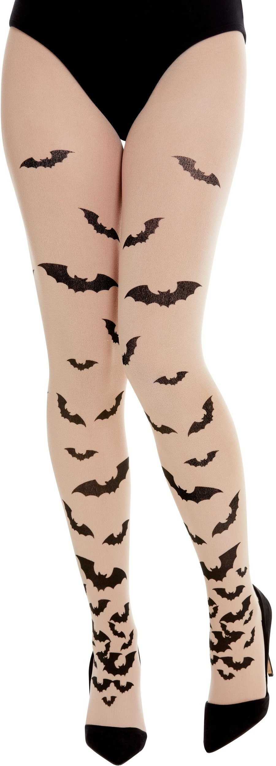 Opaque Tights with Bats Halloween Fancy Dress