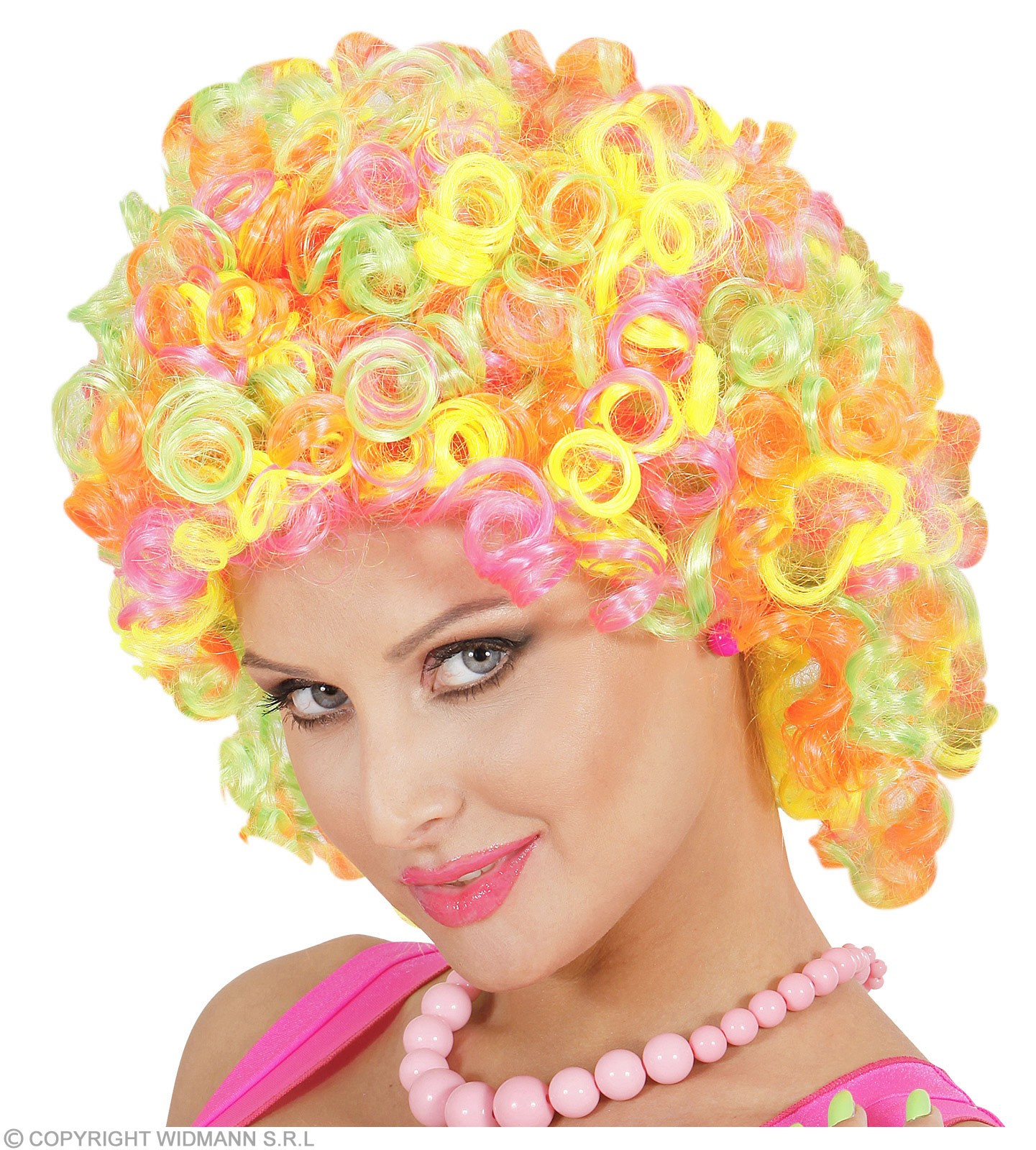 Neon Mix Curly Wig In Polybag - Fancy Dress