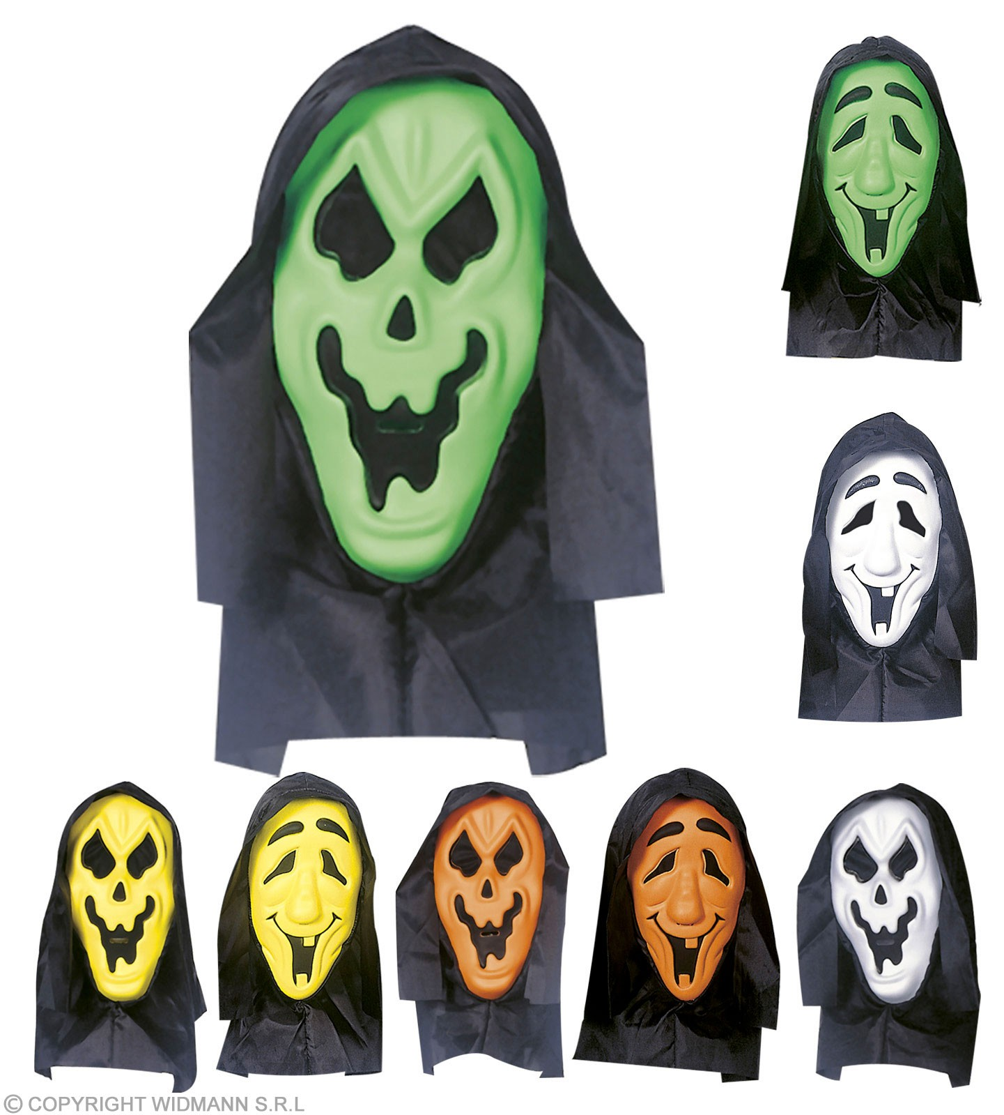 Hooded Eva Ghost Mask W/See Thru Net Eyes - Fancy Dress (Halloween)