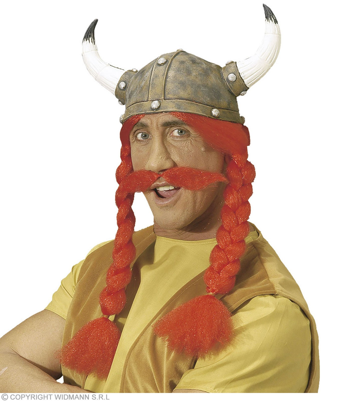 Gaul Helmet W/Horns Plaits And Tash - Fancy Dress