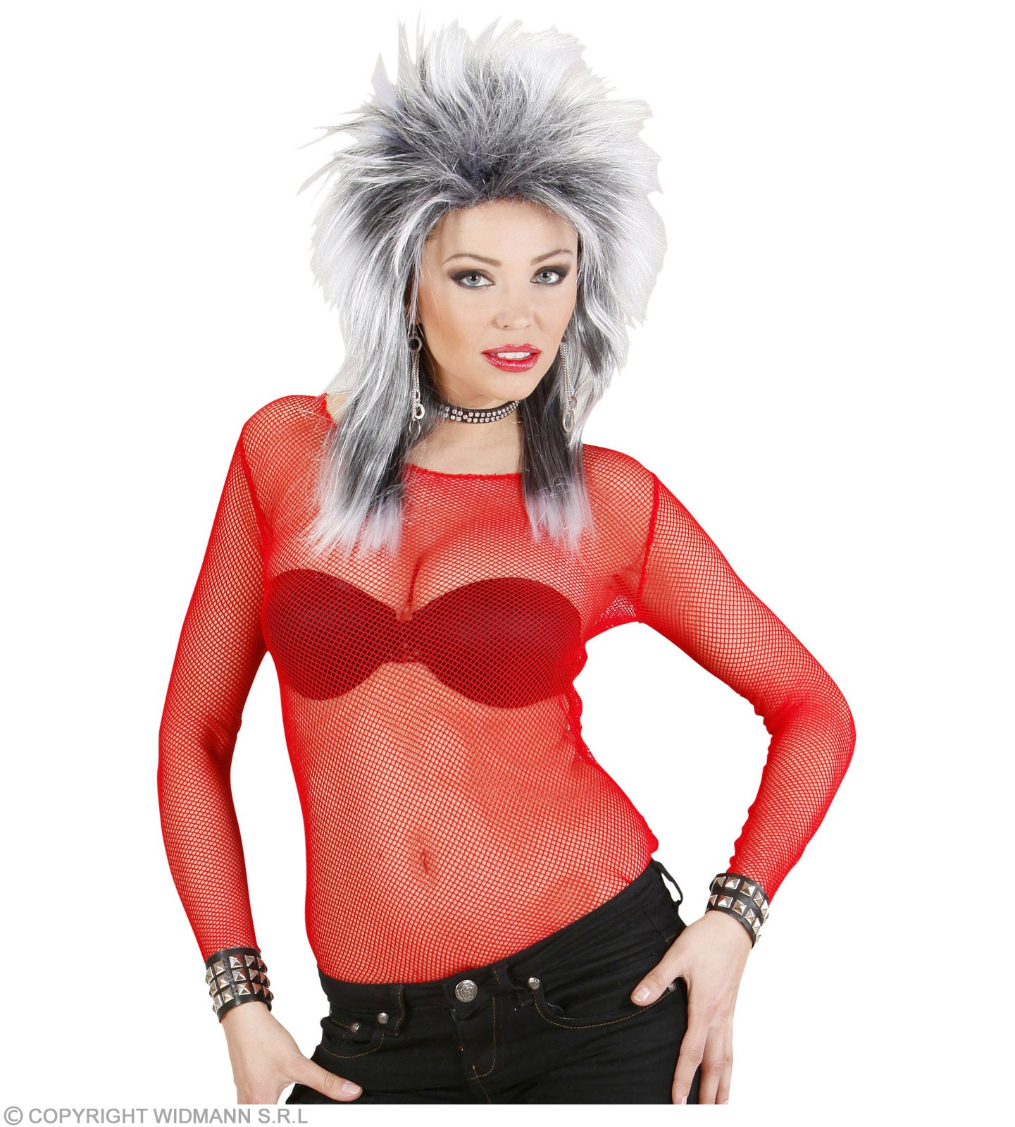 Ladies Red Fishnet Shirts Outfit - Size 10-12 (Red)
