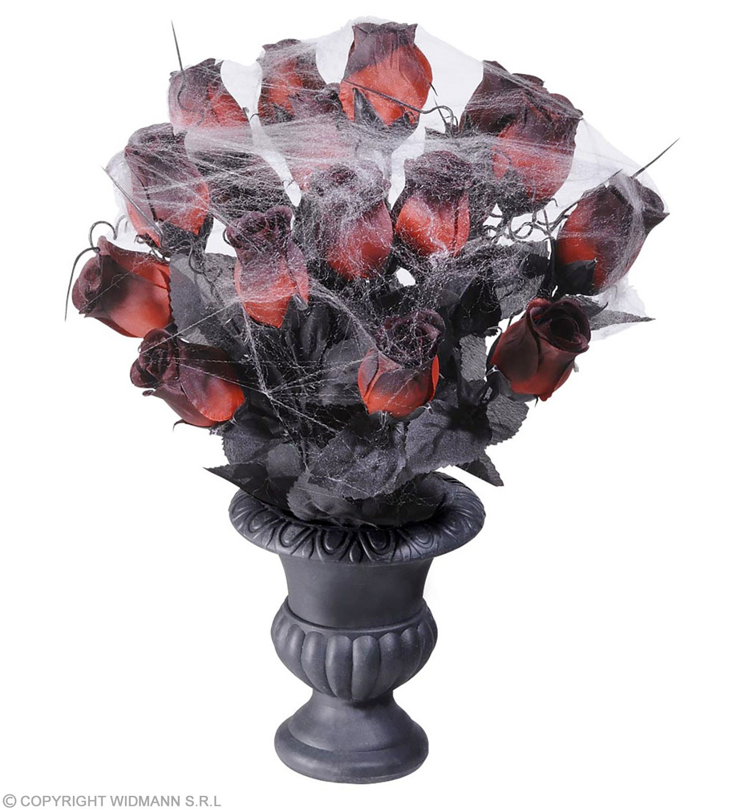 Vases 15 Red Roses & Spiderweb - Fancy Dress (Halloween)