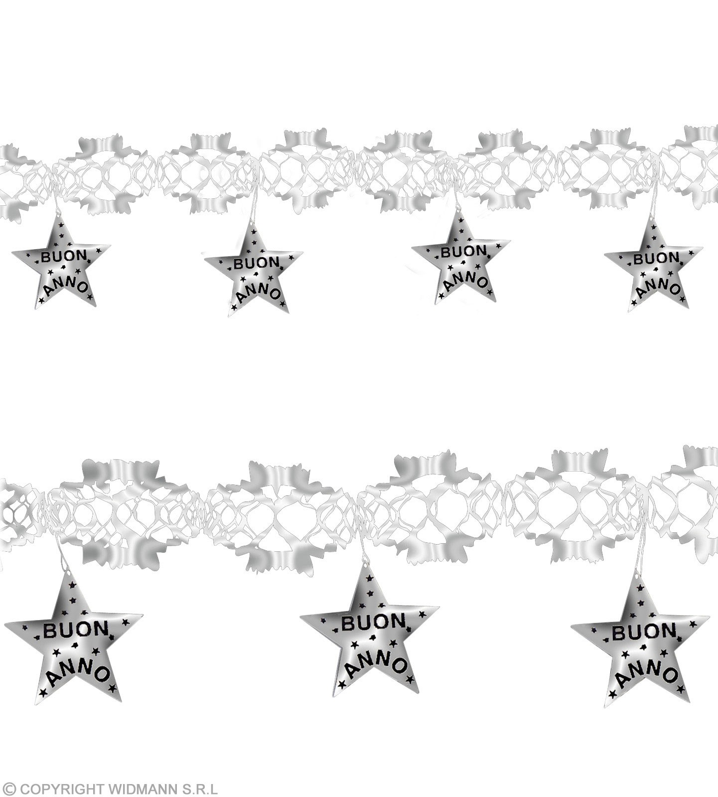 Holographic Silver Buon Anno Garlands-3 M Fancy Dress
