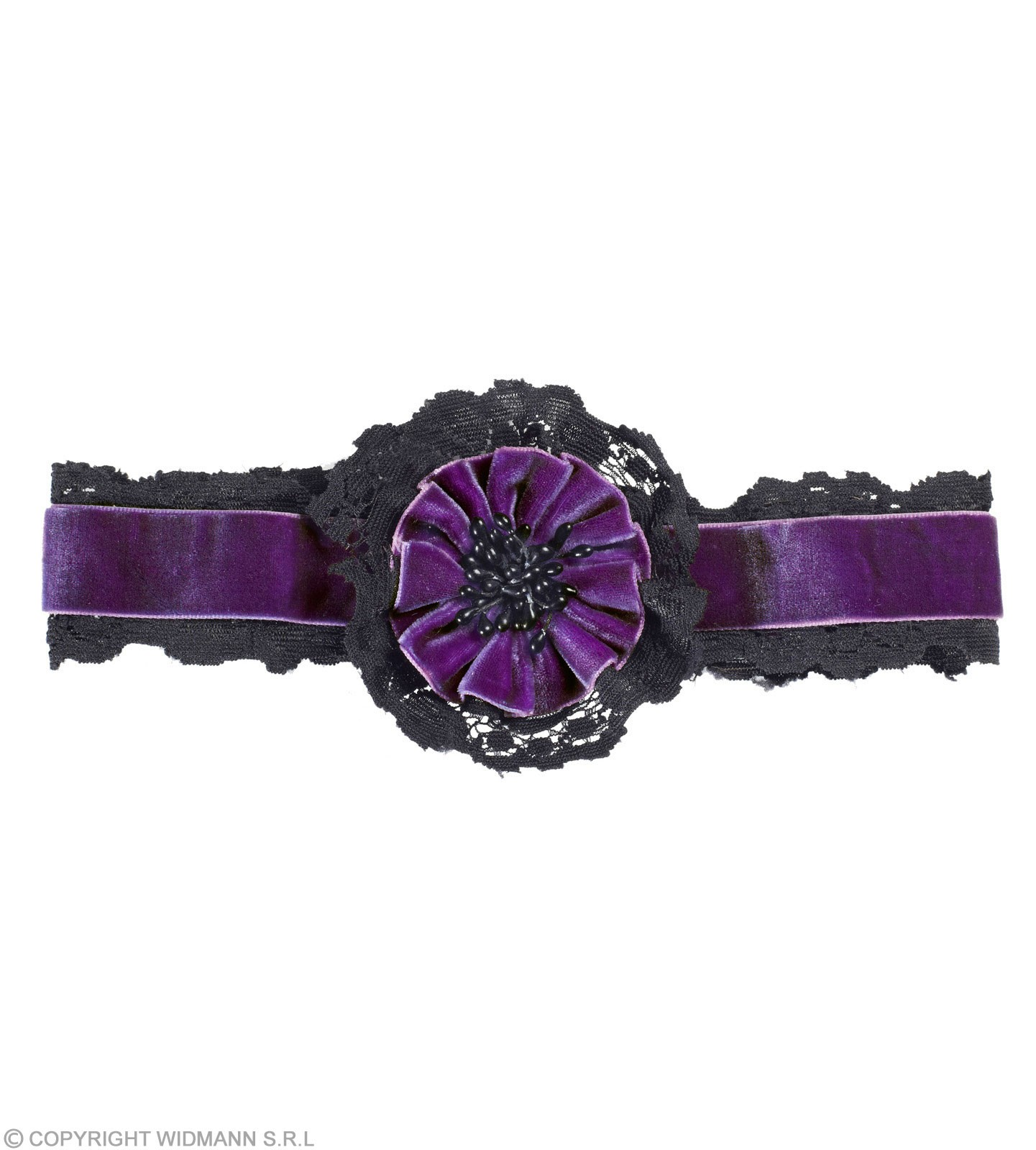 Purple Velvet Choker W/ Flower & Lace Jewellery - (Purple)
