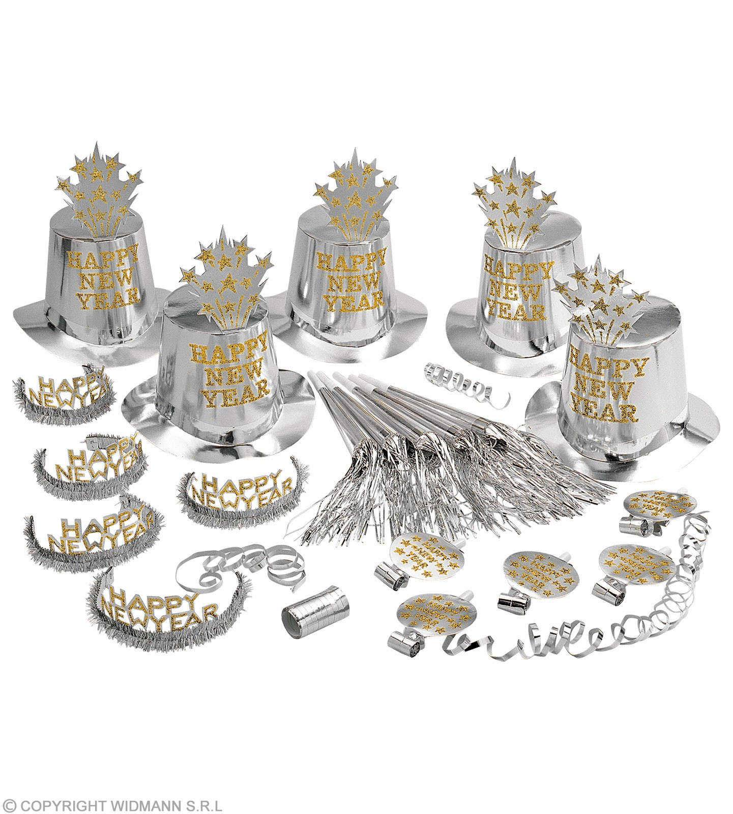 New Year Party Kit Silver 10 Person - Fancy Dress