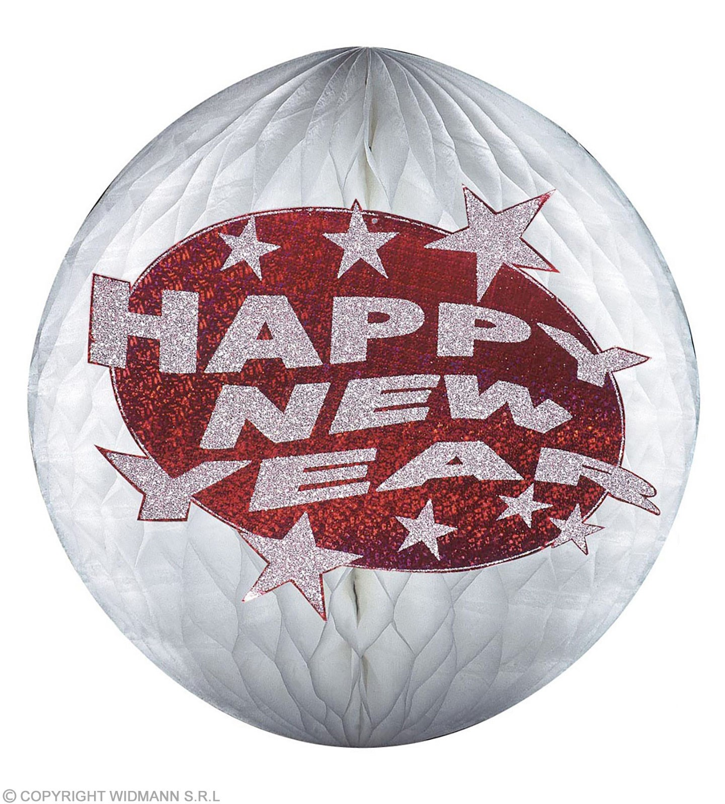 Hologr.Red Happy New Year Paper Balls Fancy Dress