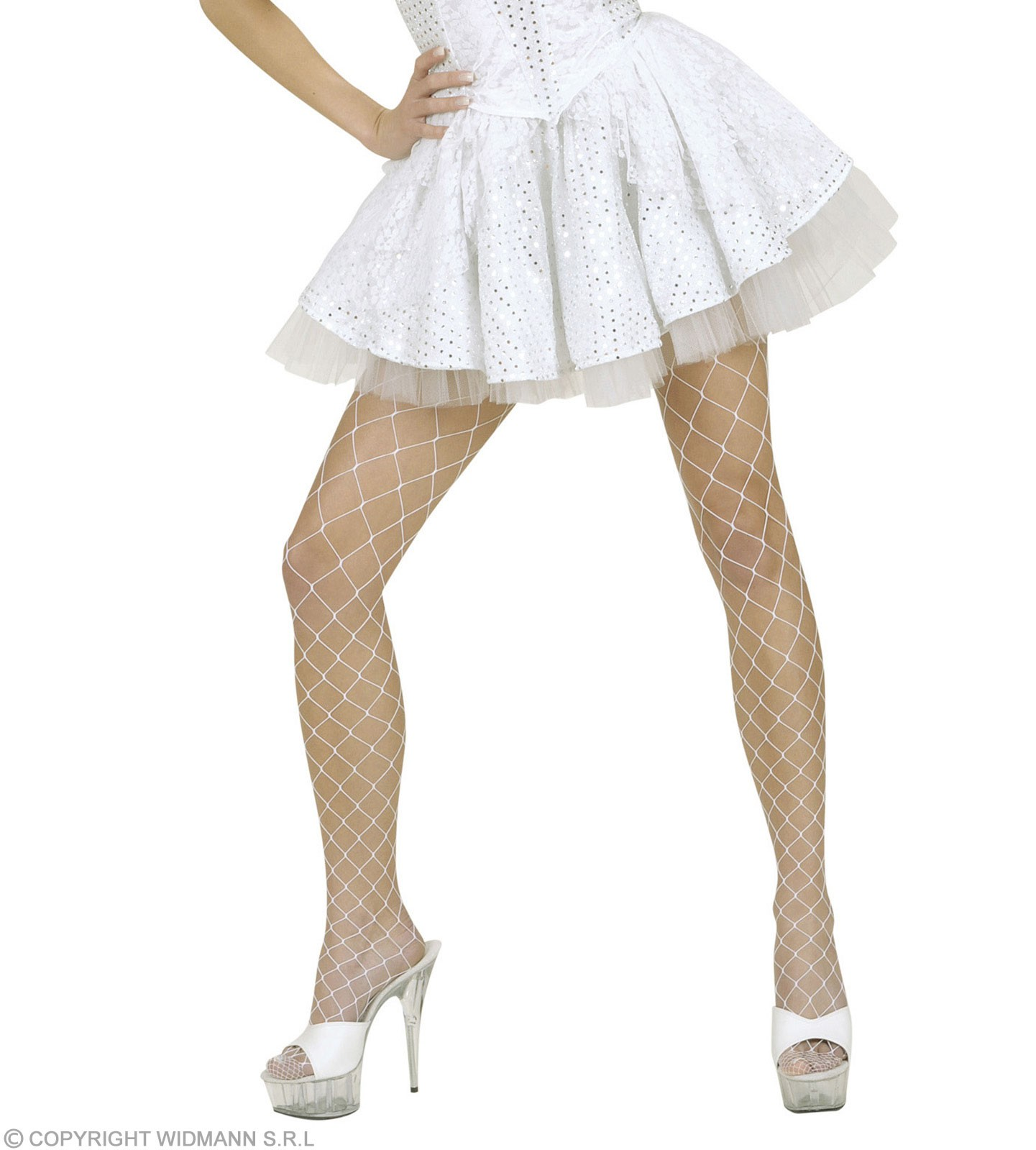 White Sequin &Lace Skirts Sewn-In Petticoat Fancy Dress