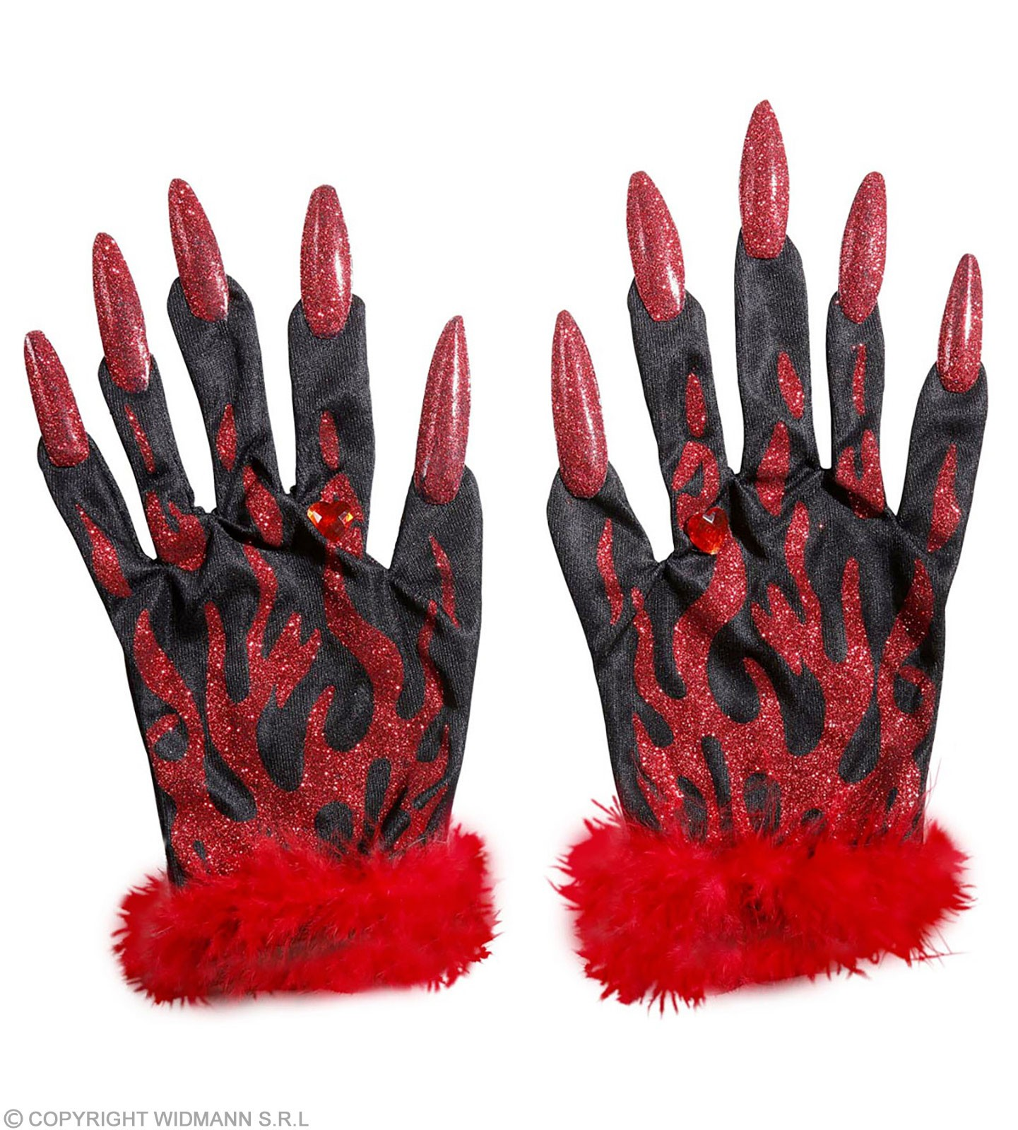Buy Devil Gloves With Red Glitter Nails, - Fancy Dress ...