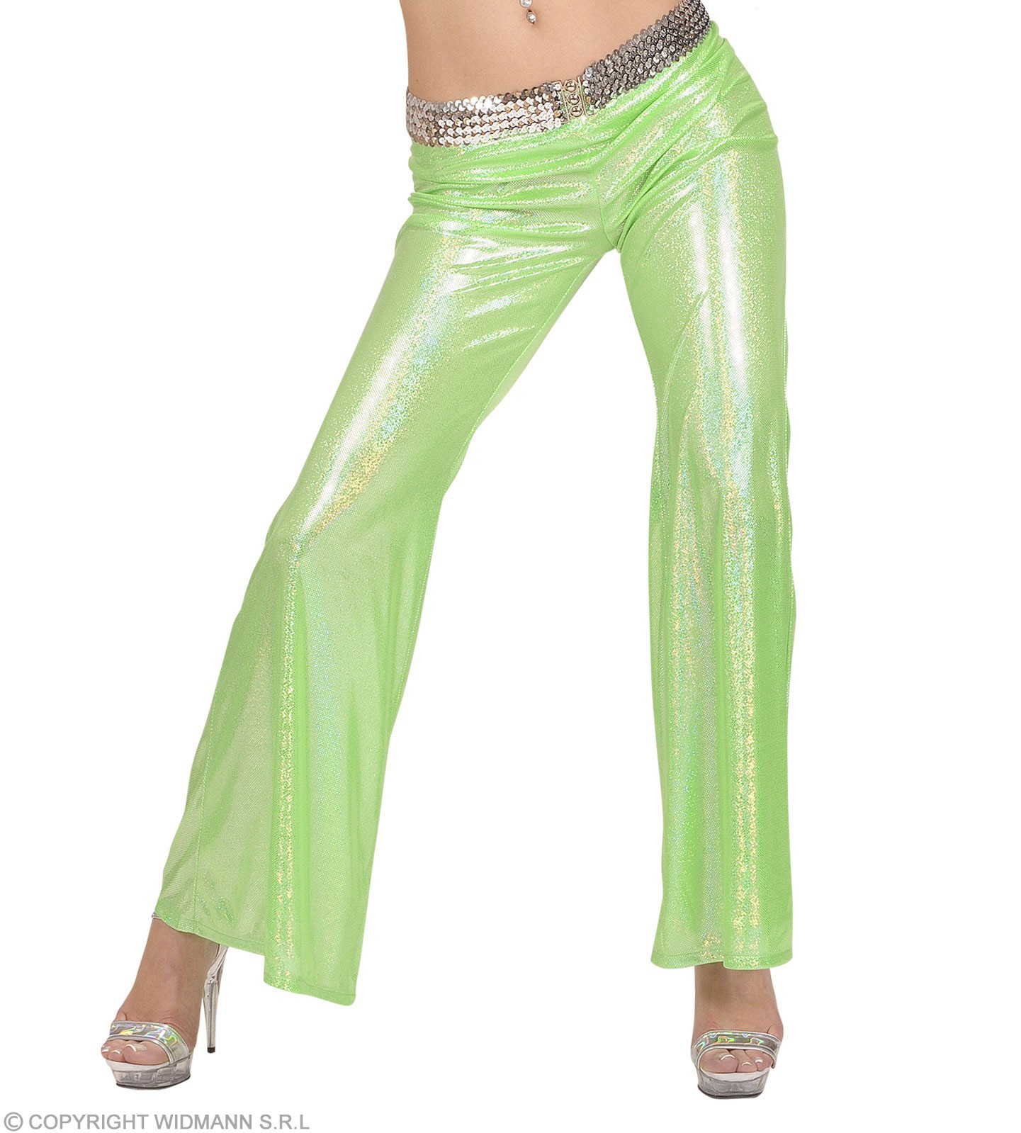 Woman Size Green Holographic Sequin Pants - Fancy Dress