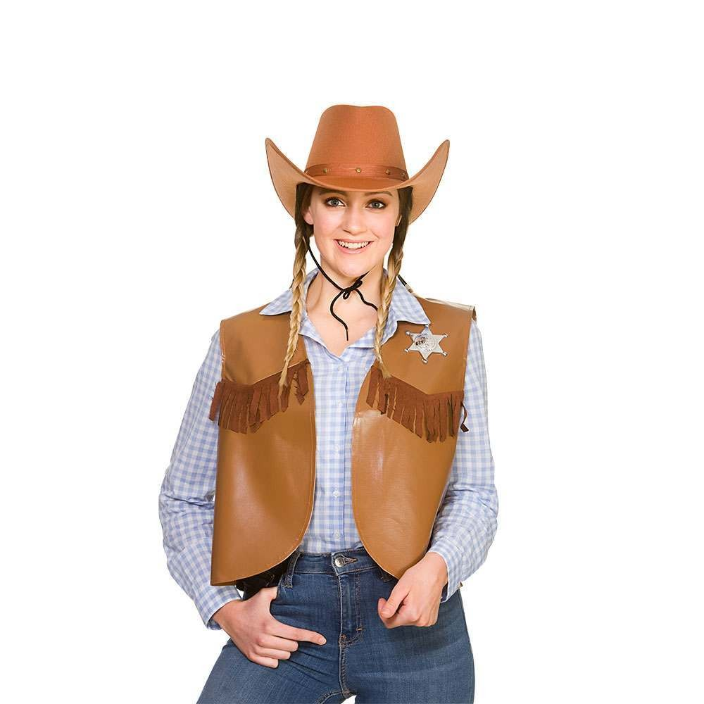 Cowboy / Sheriff Waistcoat - BROWN One Size Accessories