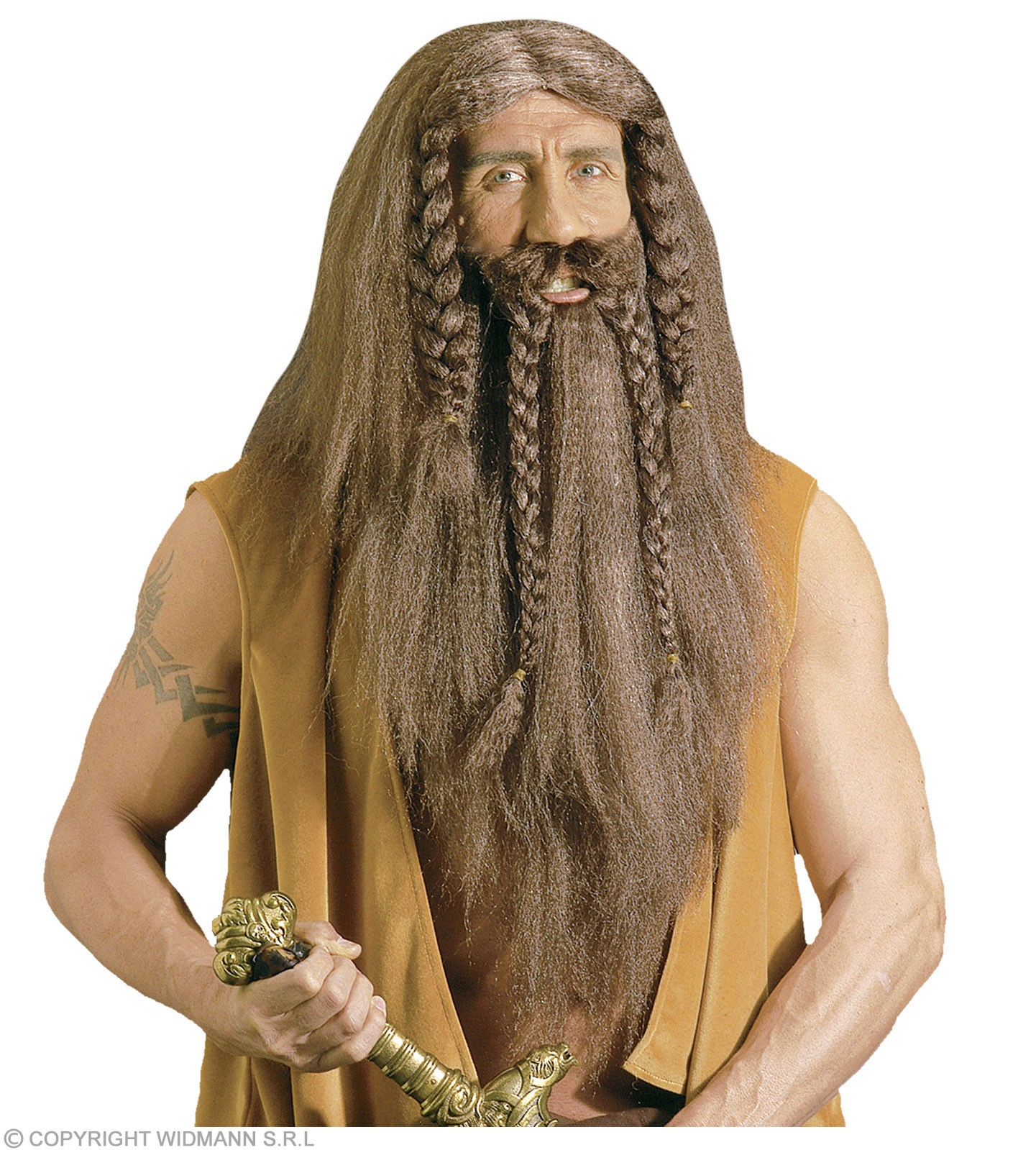 Barbarian Wig W/Beard/Moustache - Fancy Dress (Viking)