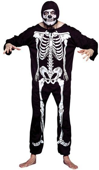 Skeleton Suit/Printed Bones Fancy Dress Costume