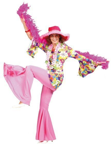 Hippy Trousers Pink (Female) Fancy Dress Costume