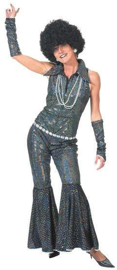 Disco Jumpsuit Black Fancy Dress Costume
