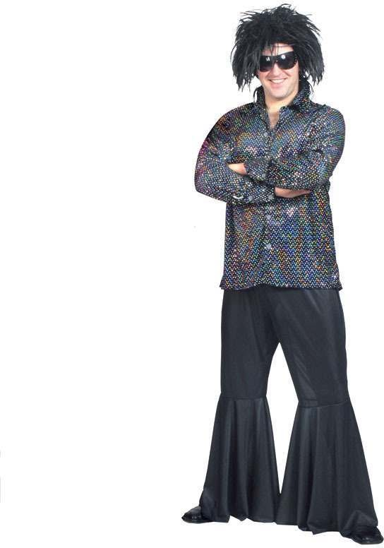 Disco Shirt Black Fancy Dress Costume