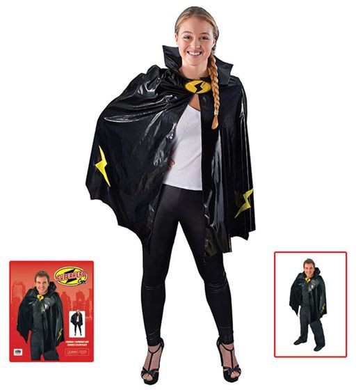 Superhero Cape. Black (Heroes , 1980S Fancy Dress)