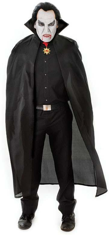 "56"" Nylon Dracula Cape. Black (Halloween Fancy Dress)"