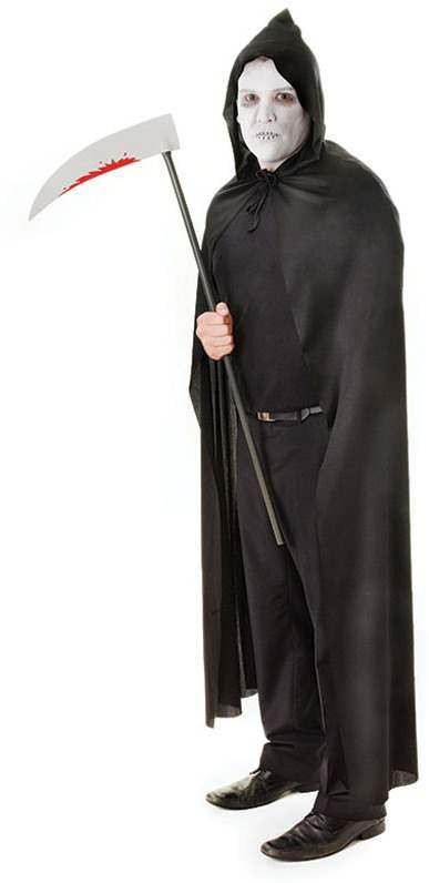 Hooded Cape Black (Halloween Fancy Dress)