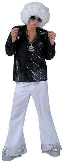Sequin Disco Trousers. White (1970S Fancy Dress)