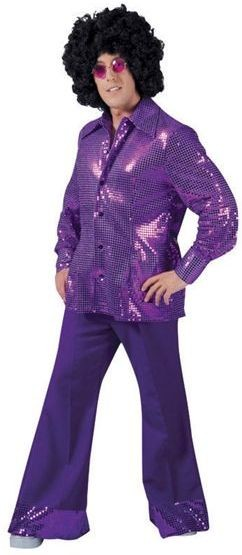 Sequin Disco Trousers. Purple (1970S Fancy Dress)