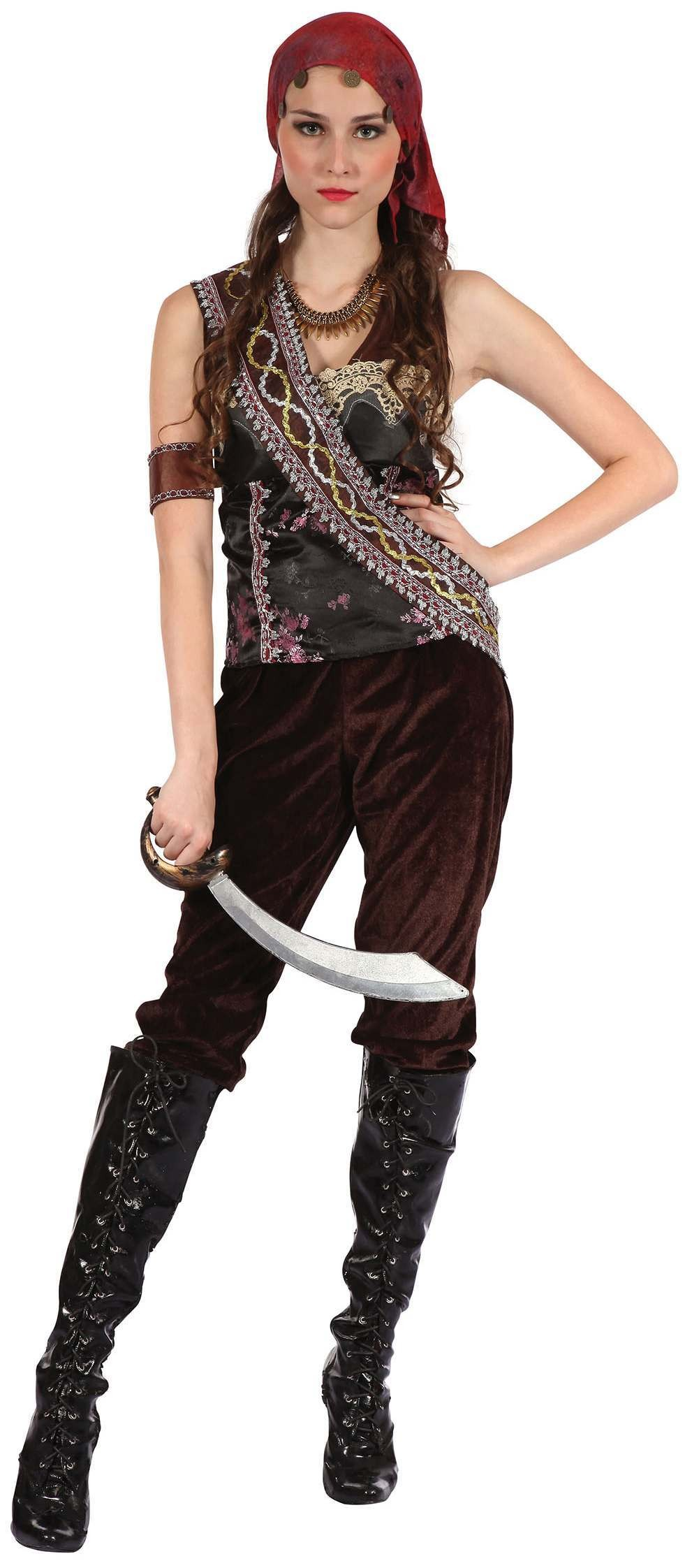 Ladies Brown Pirate Gypsy Lady Fancy Dress Costume