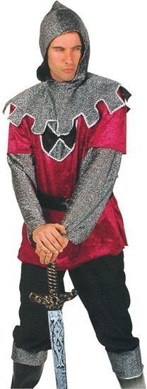 Knight Ff. Burgundy & Silver Fancy Dress Costume