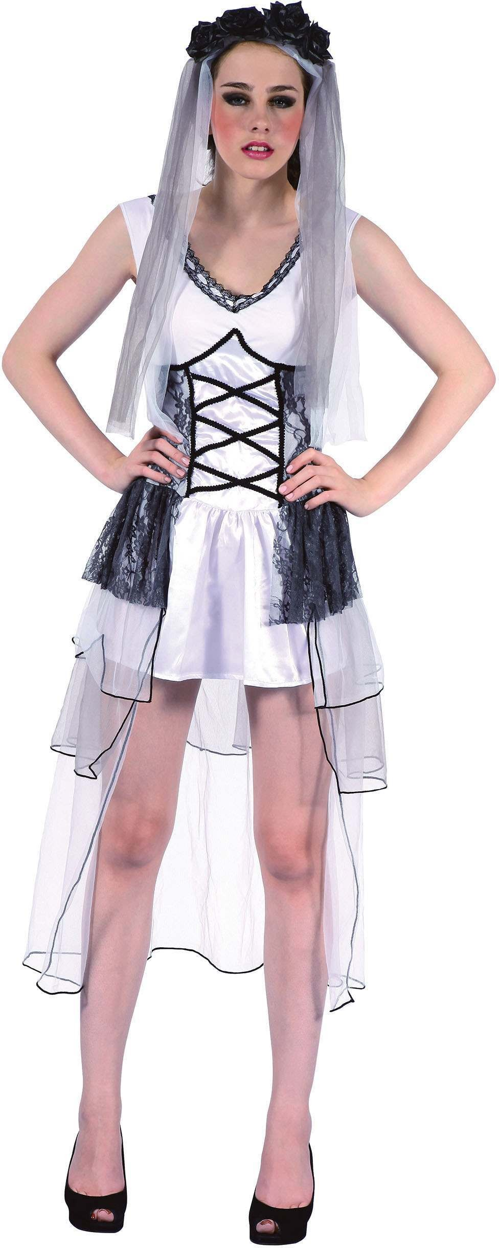 Ladies Black And White (Deathly Bride) Fancy Dress Costume