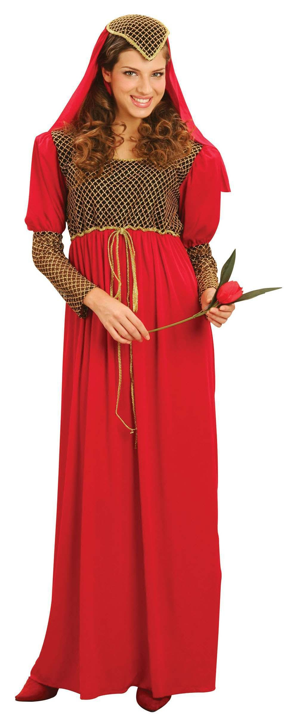 Ladies Red Classic Romantic Juliet Fancy Dress Costume