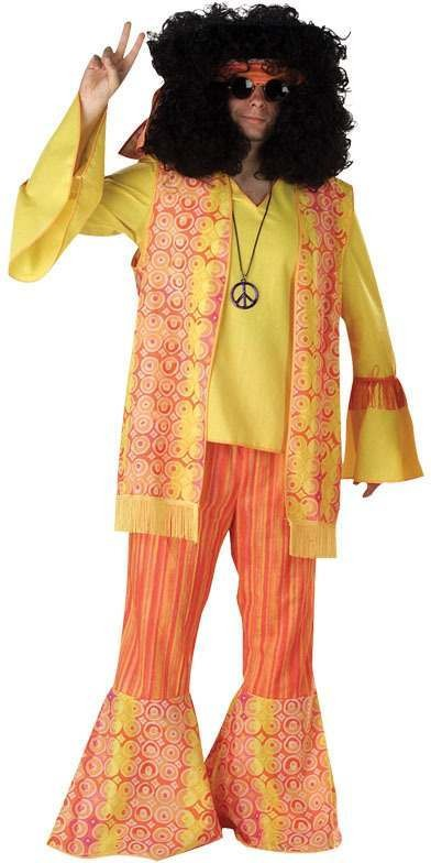 Hippy Man. Orange Fancy Dress Costume