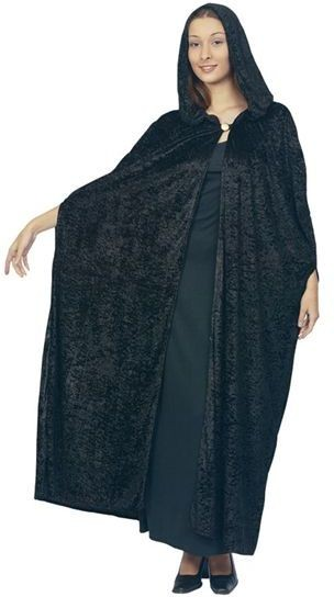 Gothic Hooded Velvet Cloak.Black (Halloween Fancy Dress)