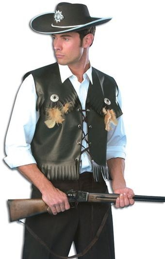Cowboy Waistcoat Black (Cowboys/Indians Fancy Dress)
