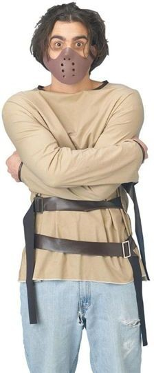 Straight Jacket & Hannibal Mask Fancy Dress Costume