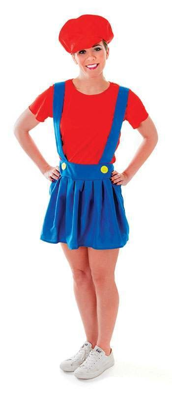 Mario Type Plumber Lady Fancy Dress Costume