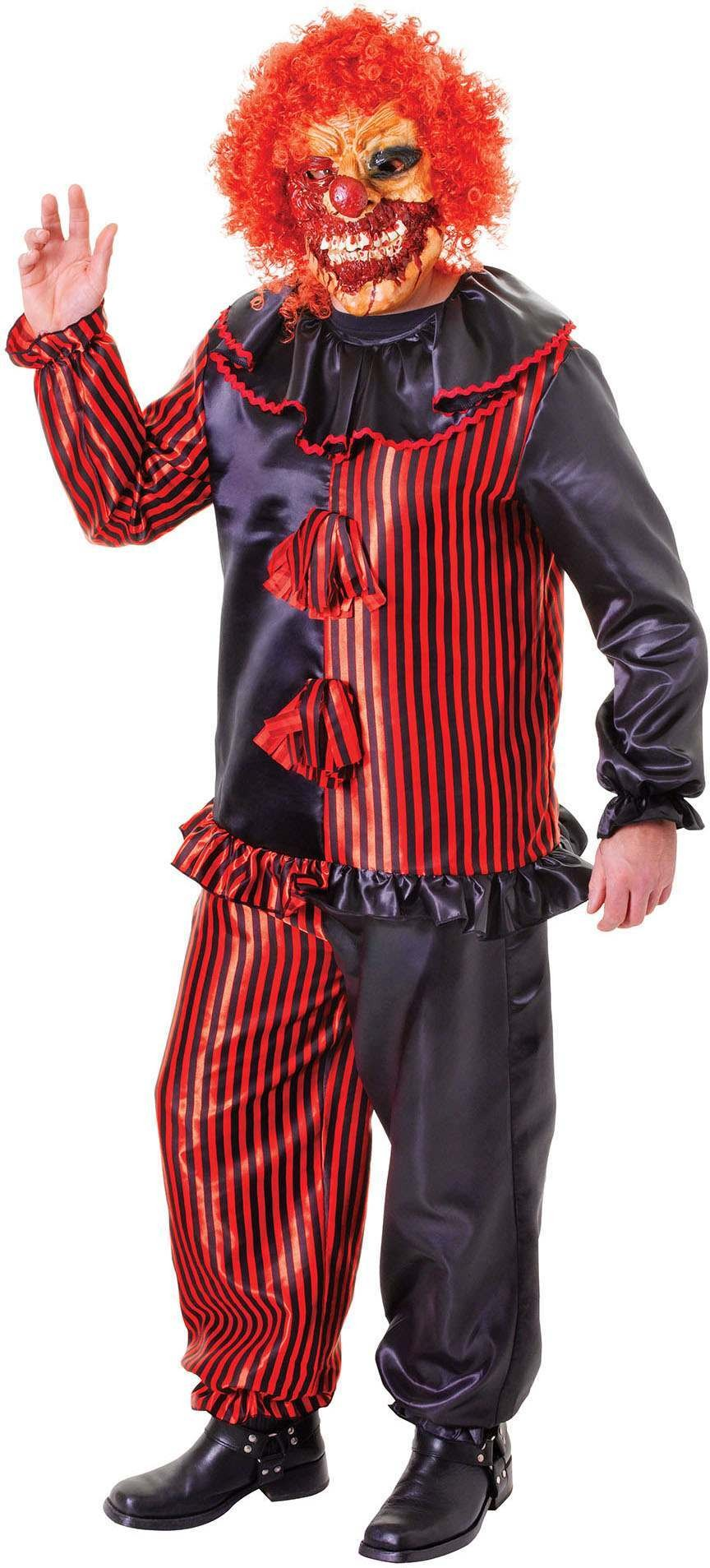 Mens Black And Red (Zombie Clown) Fancy Dress Costume
