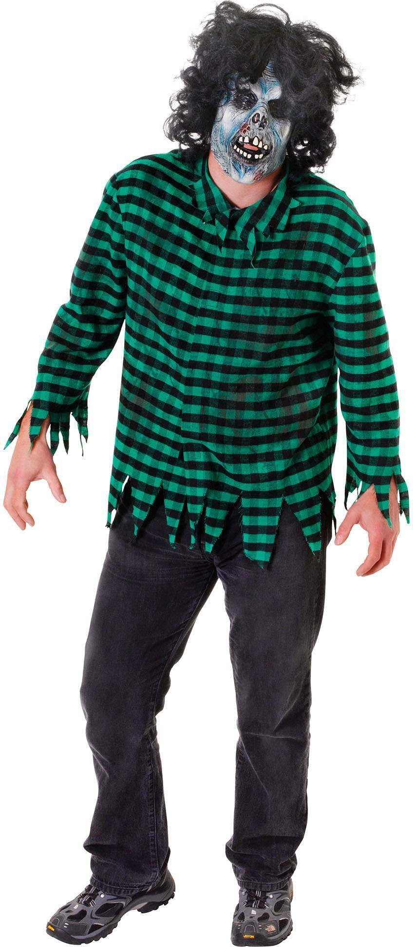 Mens Green (Zombie Shirt) Fancy Dress Costume