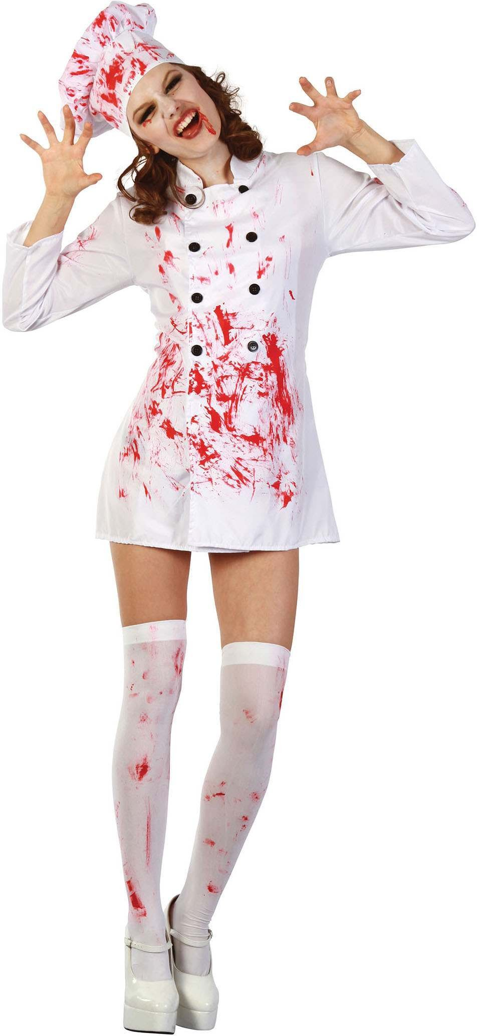Ladies White (Bloody Chef) Fancy Dress Costume