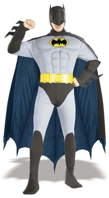 Men'S Large Classic Batman Muscle Chest Fancy Dress Costume