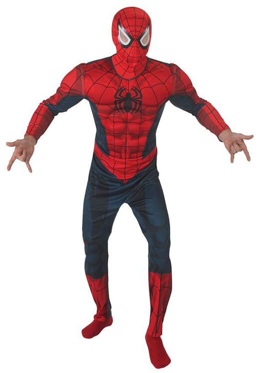 Men'S Deluxe Spiderman Padded Chest Suit Fancy Dress Costume
